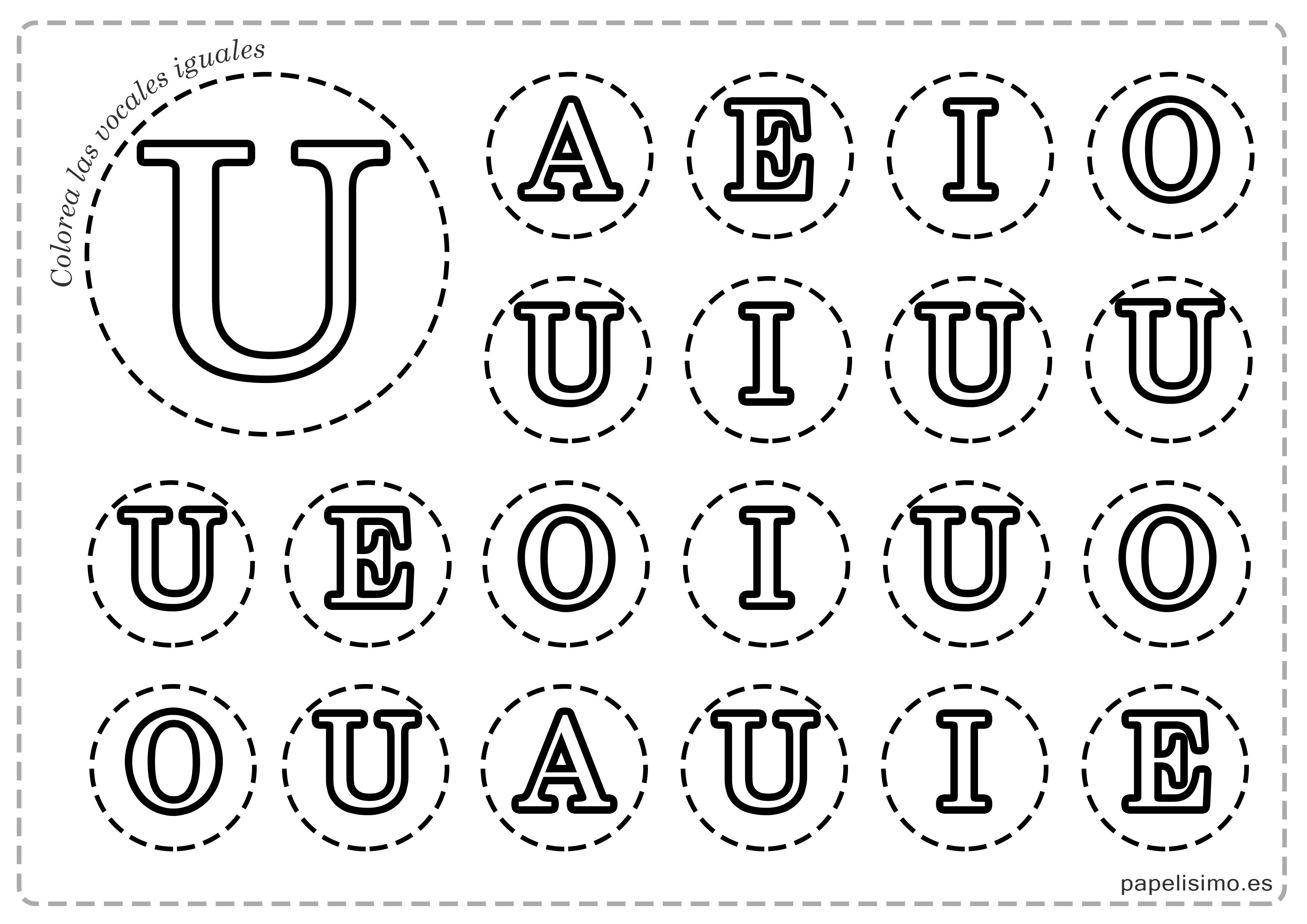 Vocales para imprimir y colorear (mayúsculas y minúsculas) - PAPELISIMO