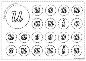 LETRA U Vocales para imprimir minusculas colorear iguales