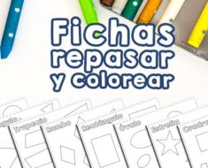 Fichas formas geométricas para repasar y colorear para niños