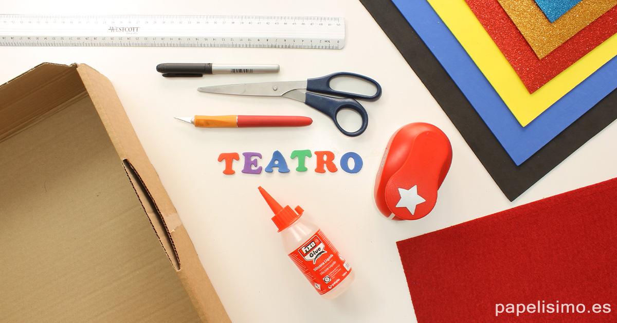 Materiales teatro de marionetas caserocaja de carton para niños