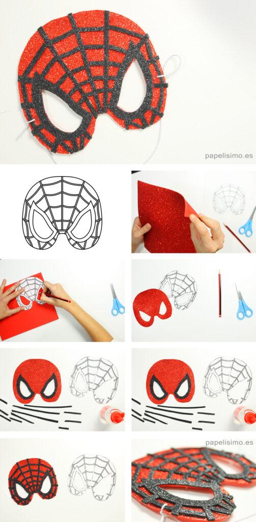 Cómo-hacer-máscara-de-Spider-Man-mask-PASO-A-PASO
